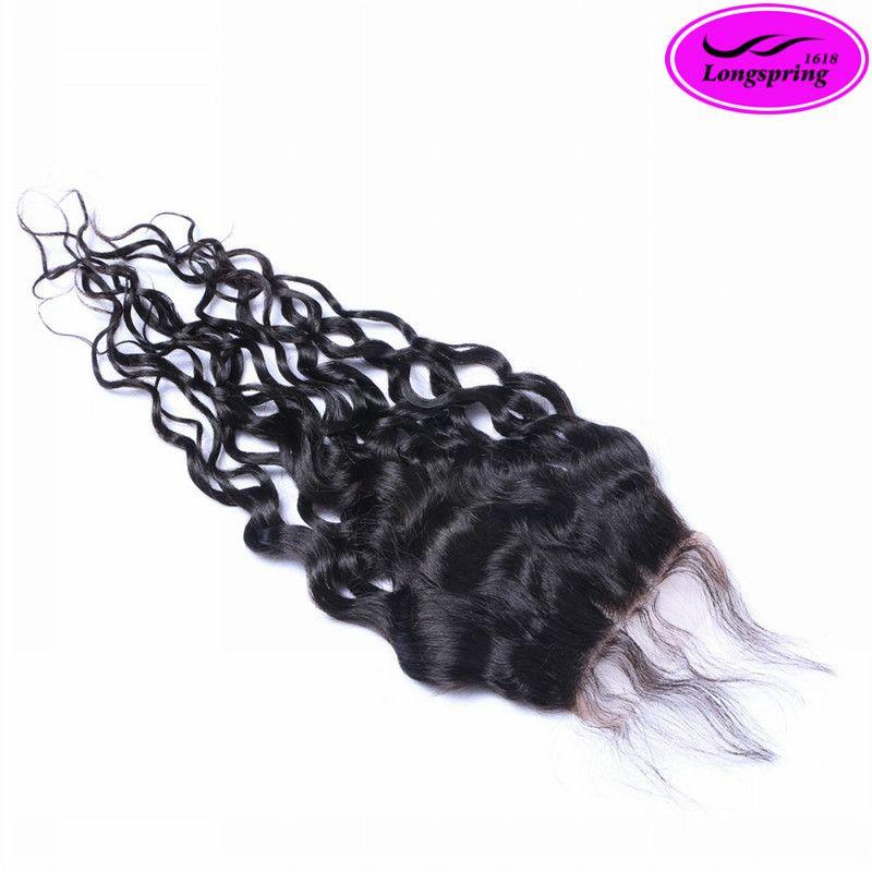 ¡Liquidación! Cierre superior del cordón Pelo negro brasileño natural Cierre del cordón indio malasio peruano Tamaño del cordón del pelo humano de la Virgen 4 * 4