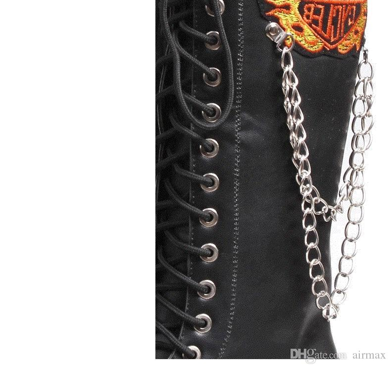 남성용 디자이너 패션 오토바이 부츠 블랙 47cm 긴 펑크 마틴 무릎 부팅 남자 레저 화재 Embroidered 체인 신발 크기 38-44