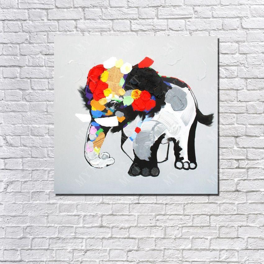 1c00fa87faa0 Acquista Pittura A Olio Dell elefante Quadri Acrilici Astratti Moderni  Decorazione Del Salone Immagine Dipinta A Mano Pittura A Olio Su Tela A   12.82 Dal ...