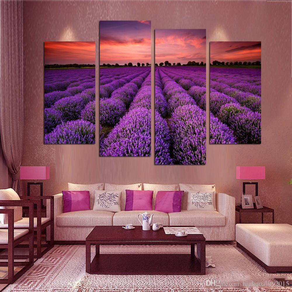 Purple Canvas Wall Art 2017 modern wall art home decoration purple lavender large living