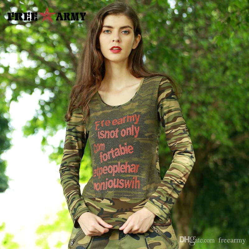 FREE ARMY 2017 Autumn Mesh Top T Shirts Camouflage Long Sleeve T ... 2ce3ea5726