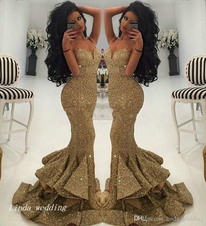 2.019 Ouro lantejoulas Prom Dress Sexy sereia cintas de espaguete ocasião especial vestido de noite formal vestido de festa
