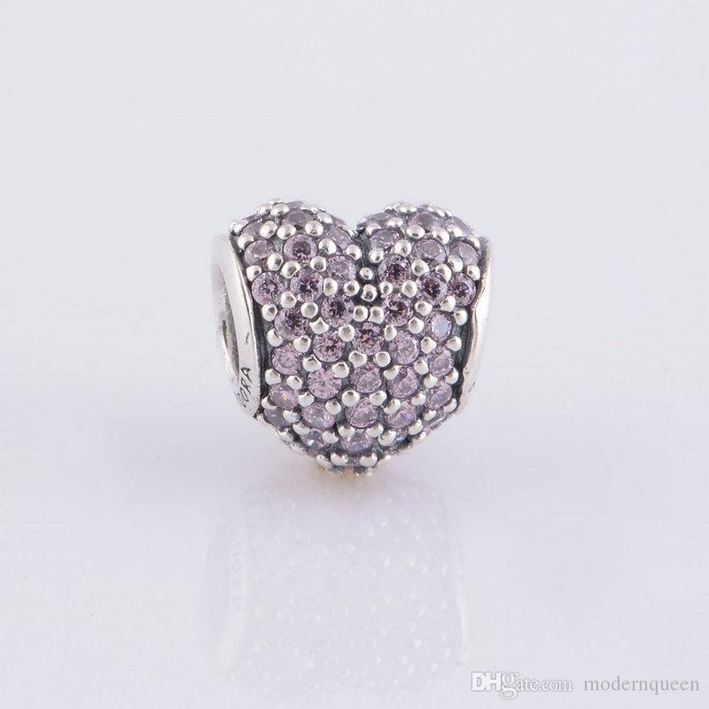 Cor-de-rosa Pave Beads Coração S925 Sterling Silver Fits para Pulseiras de Estilo de Marca Original Z H9
