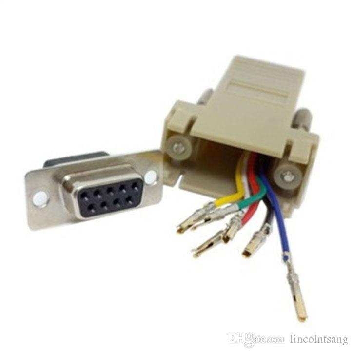Atacado 100 pçs / lote DB9 Fêmea para Fêmea RJ45 F / F RS232 Adaptador Modular Conector Extender Conversor