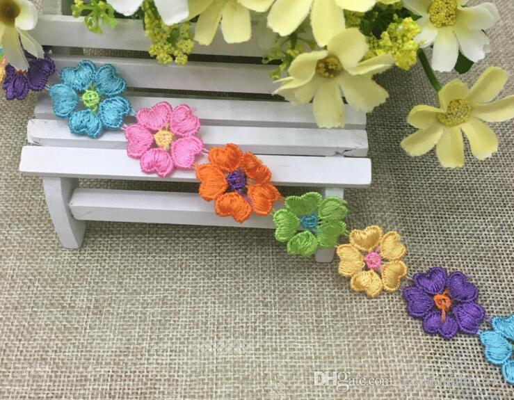 16 Yard Embroidered Multicolor Heart Flower Lace Cotton Fabric Trim For Sewing Apparel DIY Bridal wedding Doll Cap
