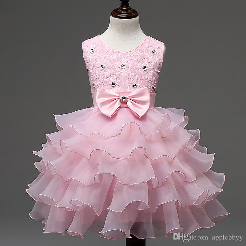 Baby Dresses Girls Kids Evening Prom Wedding Gown Little Girls Party Dresses First Birthday Outfits Children Girl Events Wear