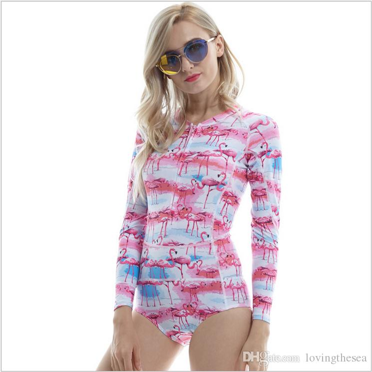 3c48a44449233 2019 Women Swimsuit Female Conjoined One Piece Print Surfing Swimwear  Spring Lycra Sunscreen Anti UV Elastic Ladies Long Sleeve Triangle Swimsu  From ...