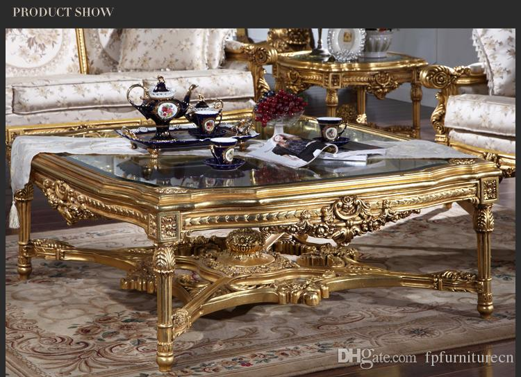 Antique furniture manufacturer-French classic coffee table with glass top - Italian classic coffee table