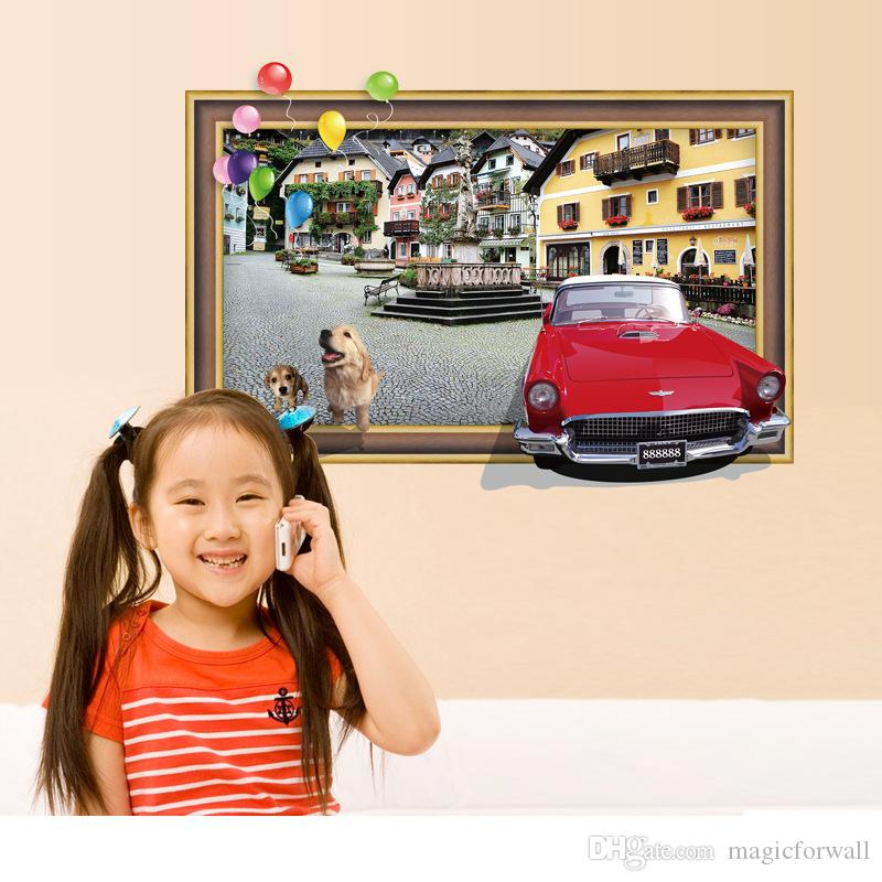 Fake Photo Frame the Scenery of the City View Wall Stickers Cartoon Dog Car City Buildings Balloons Wall Decals DIY Home Decor Wall Pos
