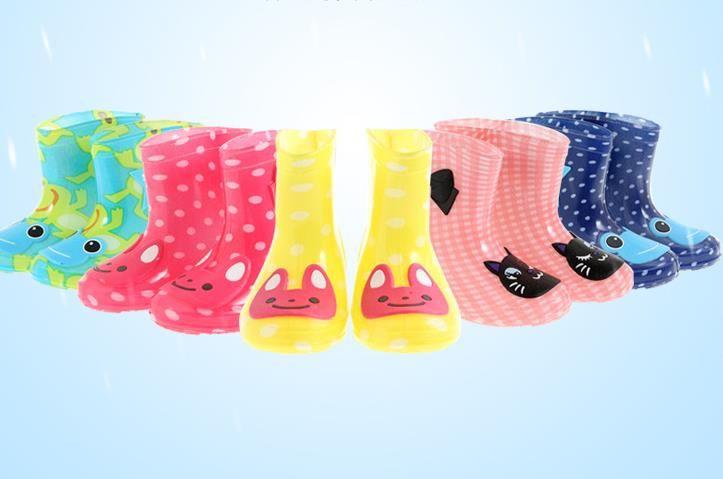 children toddler rainboots girl boy cartoon soft rubber jelly rain