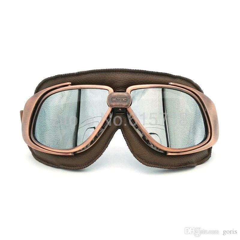 5ebf5bf11cb47 Lente de prata Lentes Espelhadas Óculos Óculos de Capacete Da Motocicleta  Goggle Piloto Do Vintage Eyewear Motociclista Couro Para Motocicleta  Bicicleta ATV ...