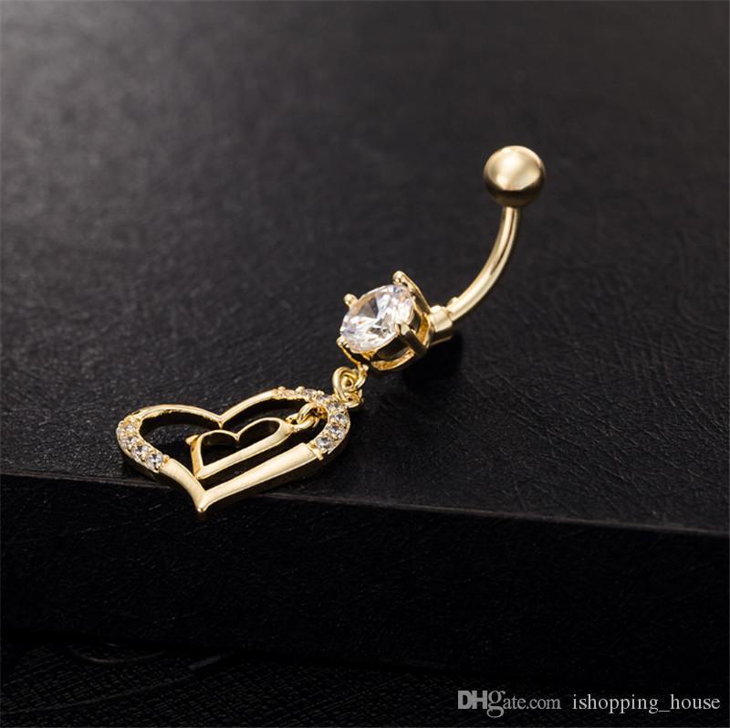 Sexy Hot Double Heart Jewelry Billy Belly Botton Bully Anelli dell'ombelico Body Piercing Gioielli Gioielli da Giovane Lady BR-075