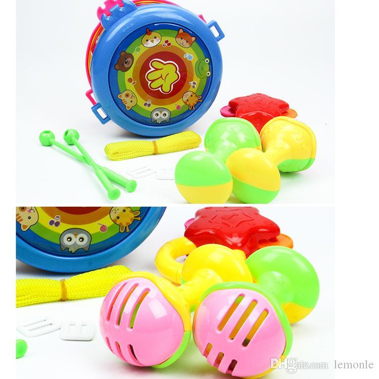 Conjunto de Instrumentos Musicais do pacote Do Bebê Chocalhos Agitar Sino Anel Crianças Brinquedos de Aprendizagem Precoce Mão Bater Tambores Brinquedos para crianças