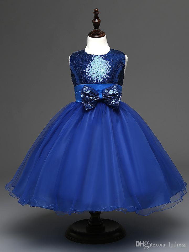 Sparkling Purple, Royal Blue, Red Paillettes Fleur Robes De Robes Robe De Bal Longue De Forme Fleur Grils Party Robes Big Bow Flower Filles 'Dress