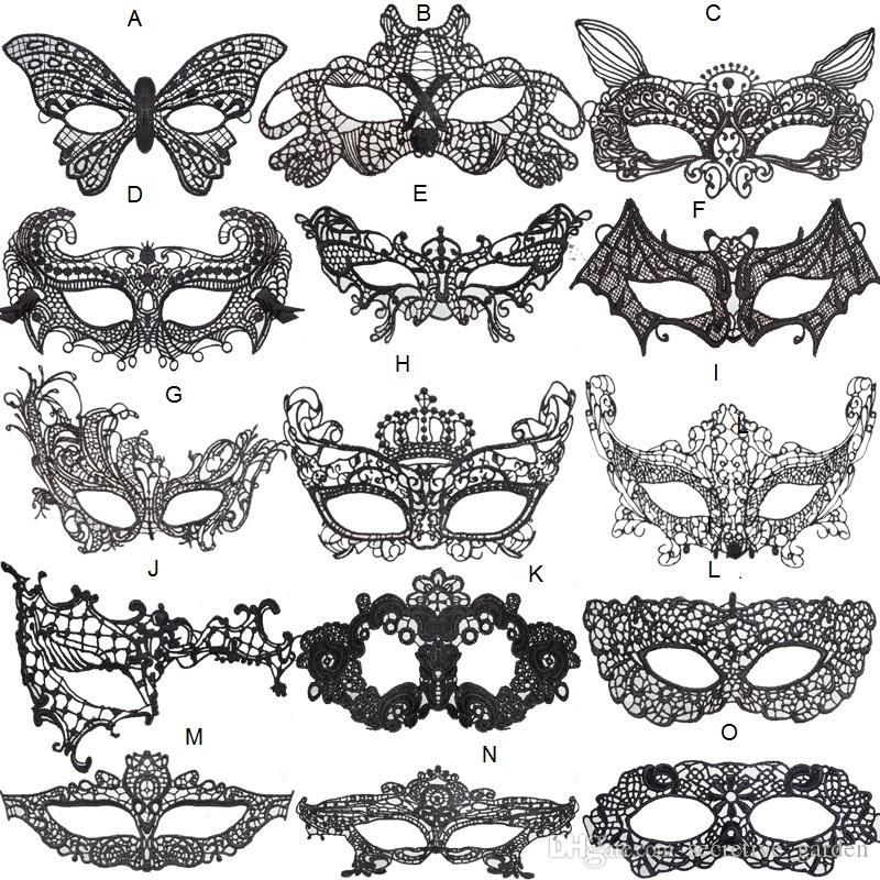 Lace Eye Mask 13 Styles Mysterious Women's Black For Masquerade Party Prom Ball Halloween Fancy Dress Party