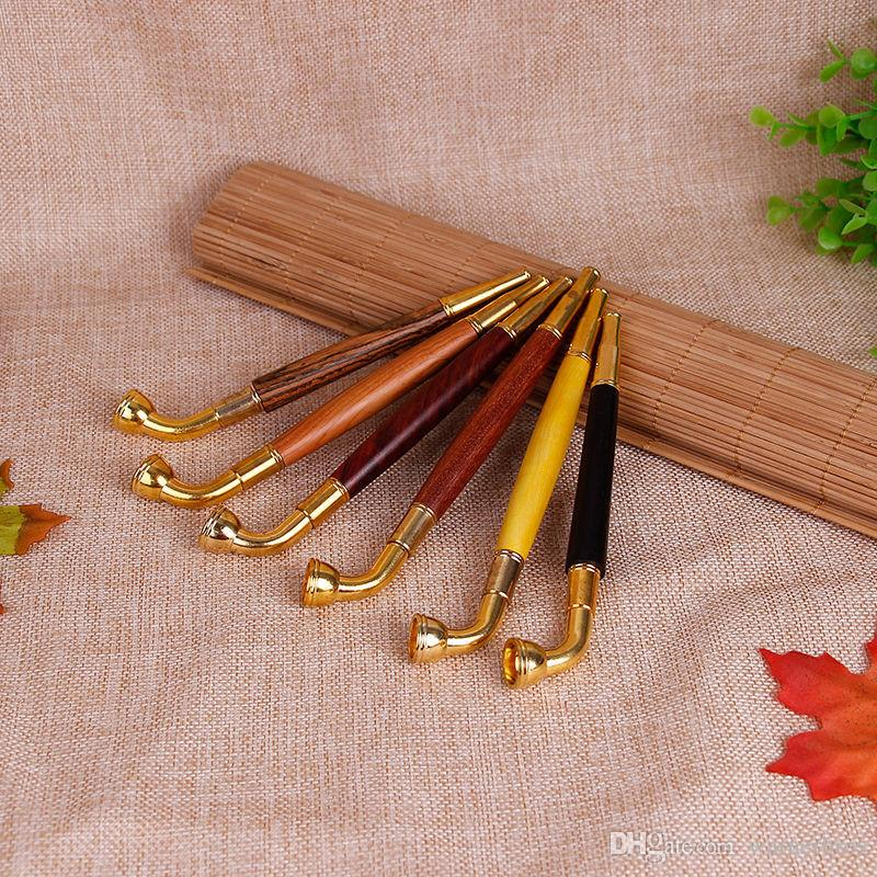 wood Metal Pipes Detachable Portable Creative Small tobacco Stems Smoking Pipe filter washable Herb Tobacco Pipes cigarette holder smoke pot