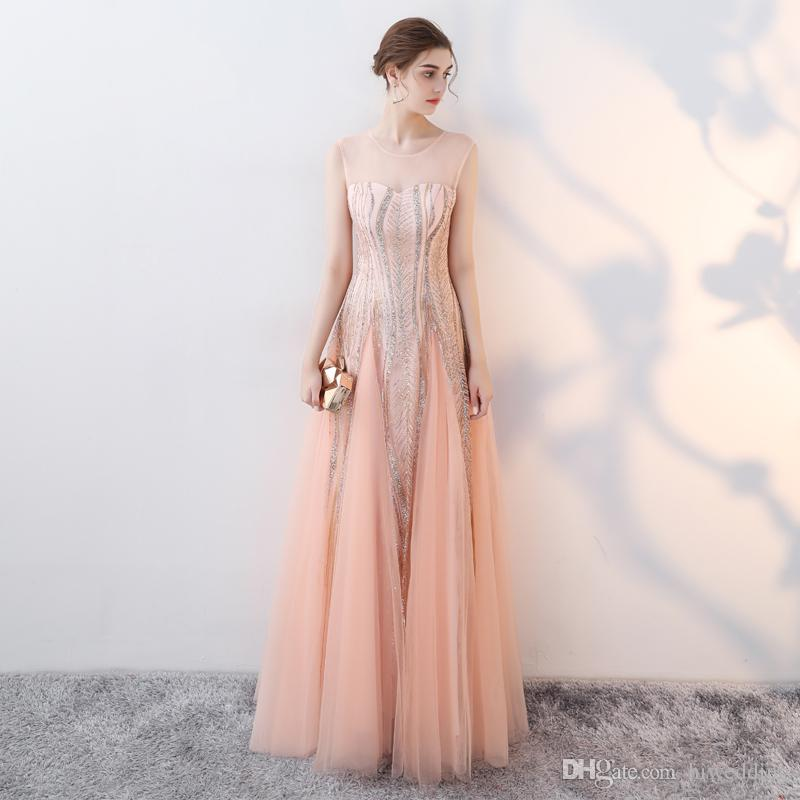 Sheer Neck Sexy 2017 Evening Dresses Stunning Sequined A-line Prom Dresses Cheap Fashion Formal Party Bridesmaid Gowns