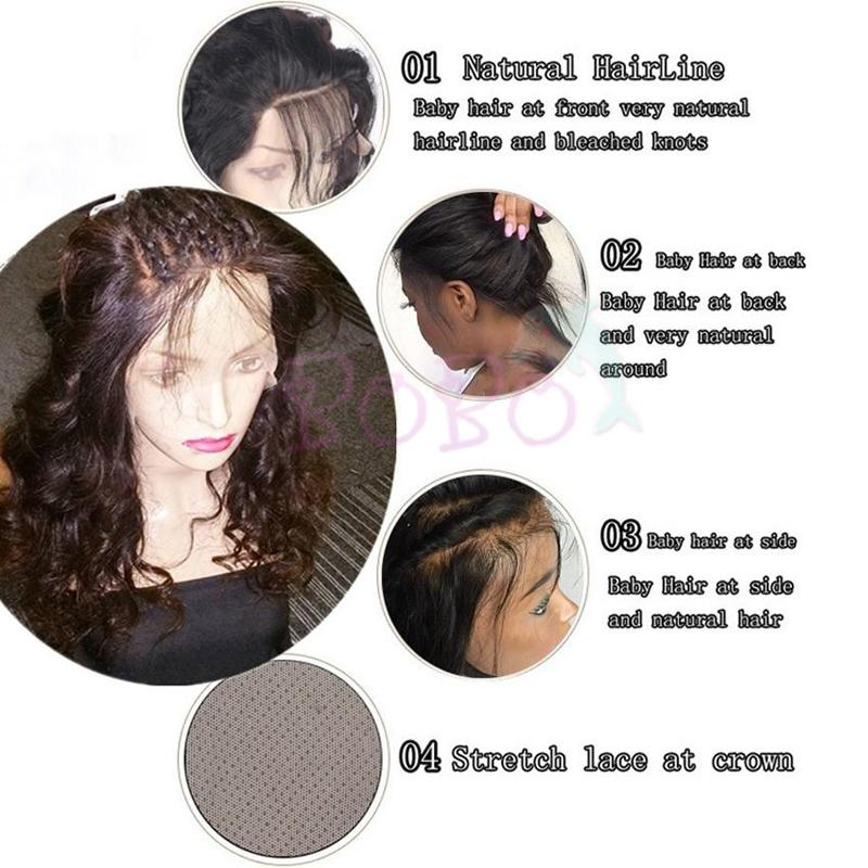Water Wave Human Hair Full Lace Wig Natural Color Side Part Wig With Pre Pluck Hairline For Black Women