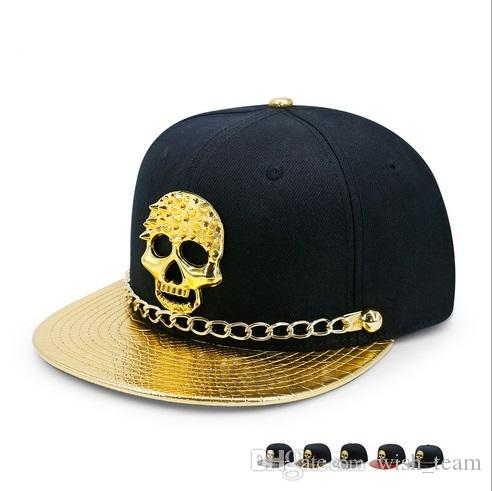 c9763dab 2017 Cool Snapback Hats Caps Hip Hop Baseball Hats Men Women Sports  Adjustable Cotton PU DJ Street Dance Golden Skull Snapback Hat Ny Caps Ball  Cap From ...