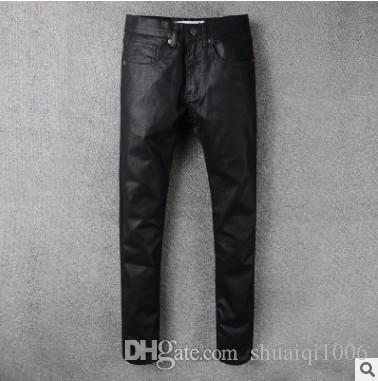 b8fa8df3 2017 Hot Sale High Street Trend Men's Jeans Classic Black Coating Slim  Small Print Pants Male Tide Biker Jeans Slim Skinny jeans for Men Casual  Pants for ...