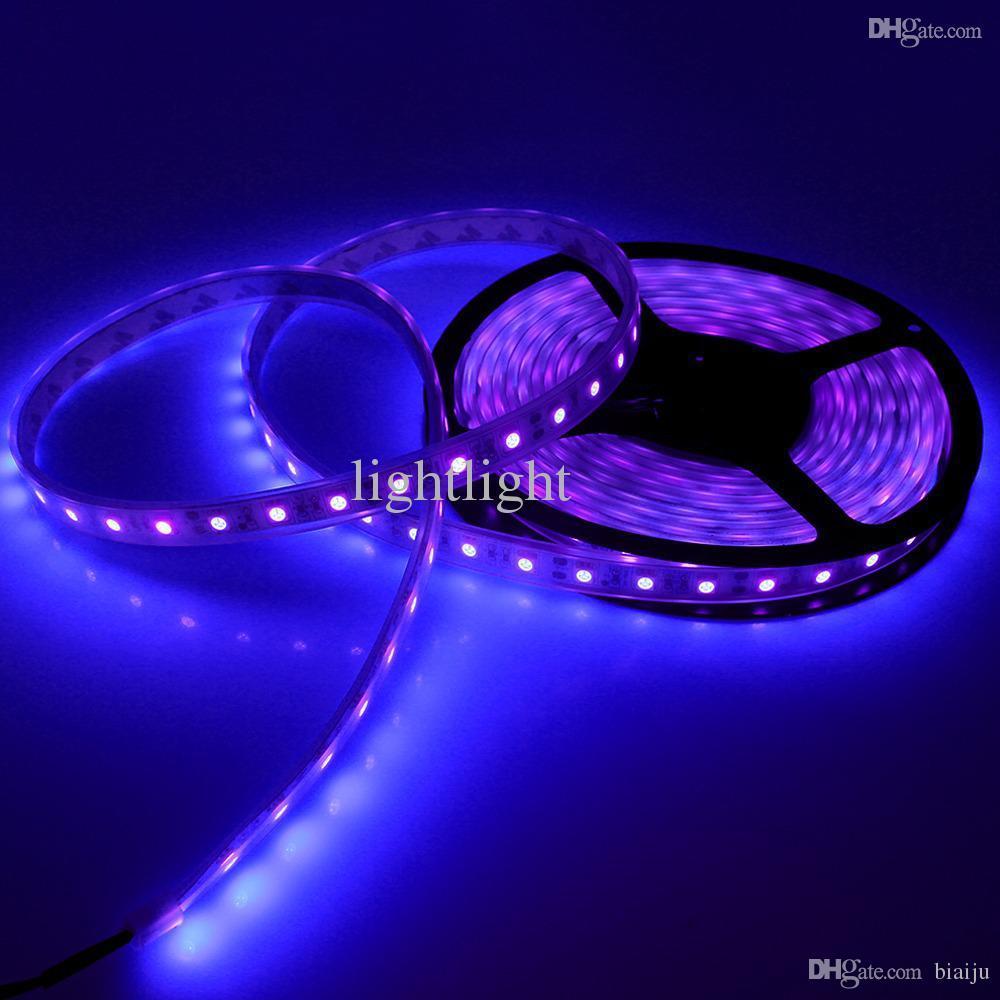 Vente en gros-5m 16ft LED ultraviolet imperméable violet noir lumière bande 5050 DC 12V nuit bateau de pêche UV Blacklight Flexible