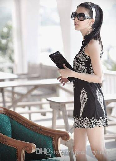 Hot Summer Bohemain Dress Totem stampato da donna Sand Sand senza maniche Vestito corto da donna Vintage Mini abiti casual neri