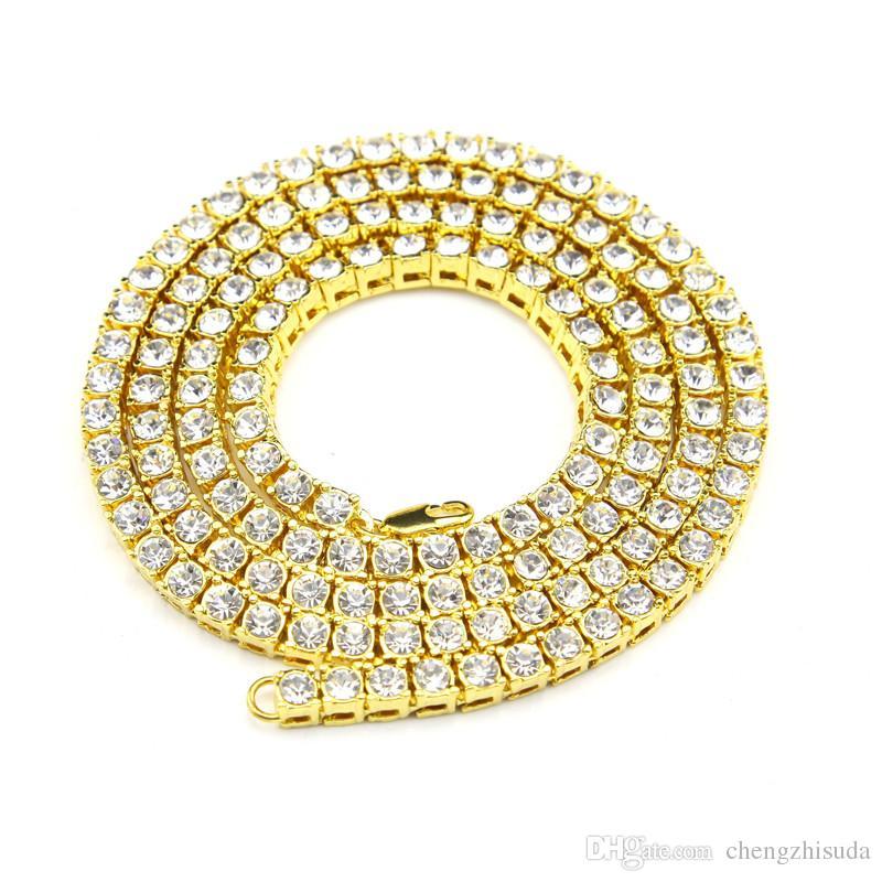 Hip Hop 1 Fiw Bling Bling Tennis Collana Collana Bracciale Set Set da uomo Lady Gold argento nero simulato gioielli diamante simulato
