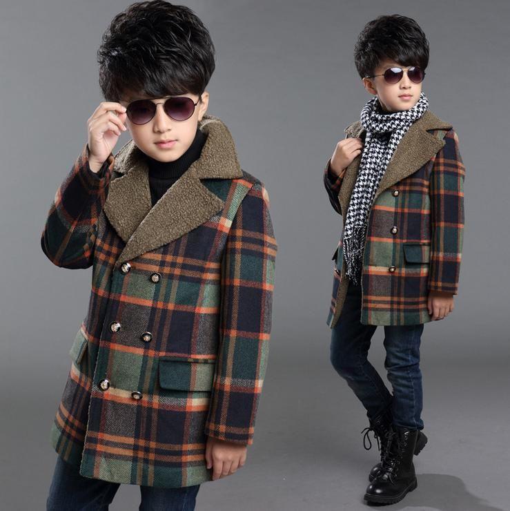 1f7d01b0ca8f8 Elegant Boy Overcoat Jacket Gentleman Style Plaid Thick Windbreaker Coat  For 4 12yrs Boys Kids Children Warm Outerwear Clothes Girls Overcoats  Toddler Girl ...