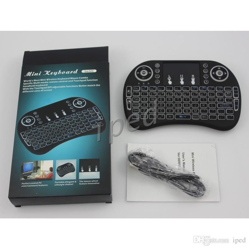 3 اللون led الخلفية اللاسلكية لوحة المفاتيح ri mini i8 زائد 2.4 جرام الهواء ميديا بلاير التحكم عن مع لوحة اللمس لالروبوت tv box T95m