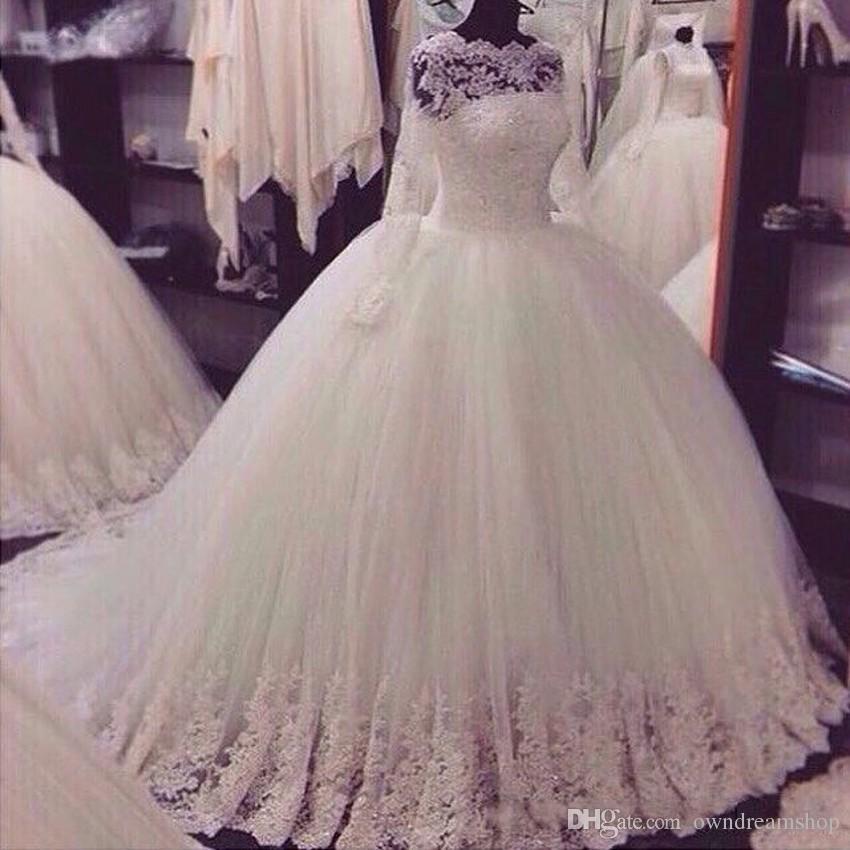 2020 foto reali una linea vestiti da sposa con Sheer maniche lunghe in pizzo Appliques Corte dei treni Abiti da sposa a buon mercato il giardino Country Wedding