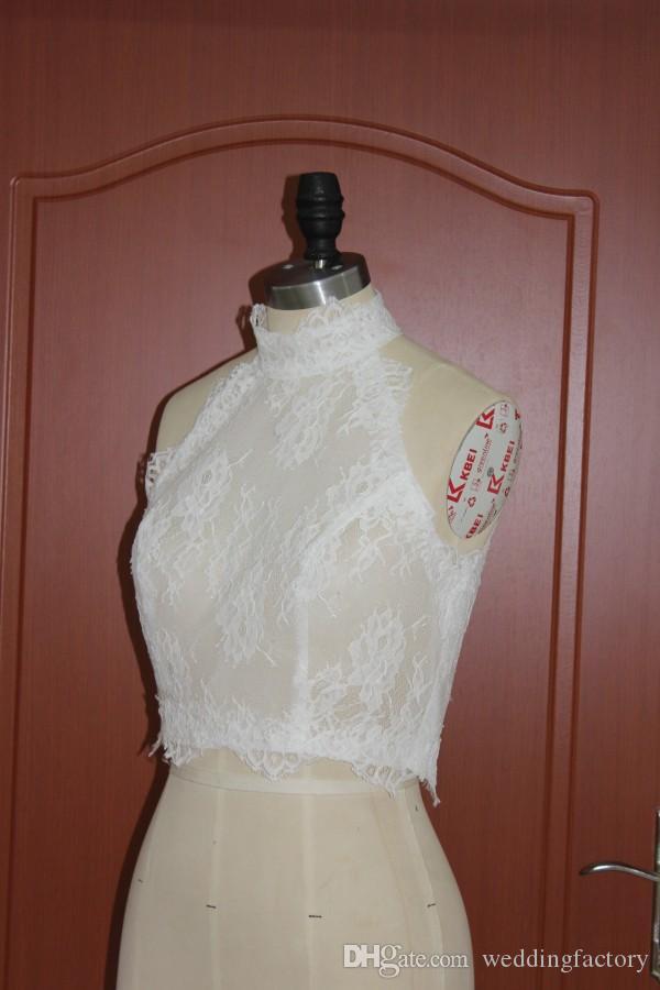 Romantic Lace Real Picture High Neck Bolero Jacket Wedding Evening Bridal Jackets Sleeveless Sheer Vest Wraps Shrugs Custom