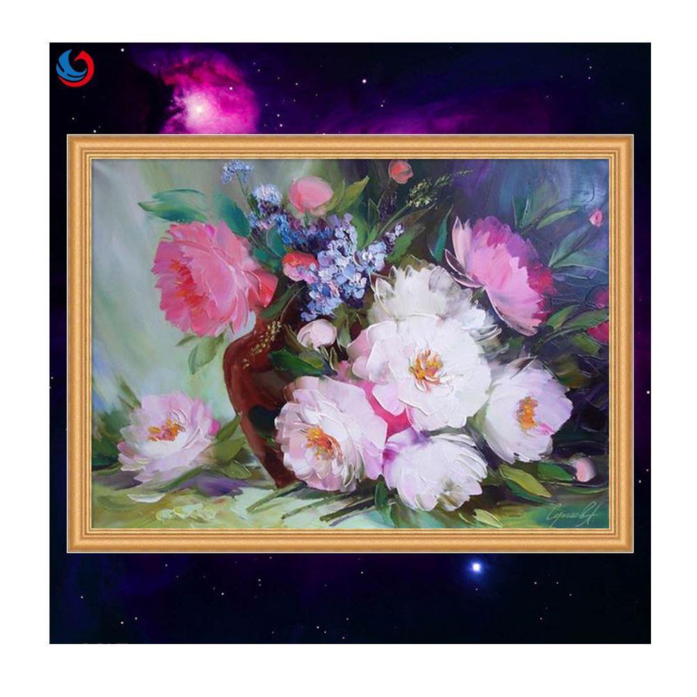 2018 Diy Digital Painting Latest Beautiful Flowers Rhinestone Pasted