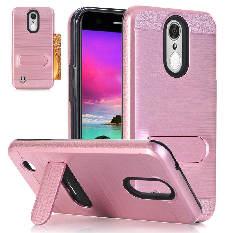 For Motorola Moto E4 Coolpad Defiant 3632 Metropcs zmax pro z981 Brushed  Hybrid Armor Kickstand Case credit card slot