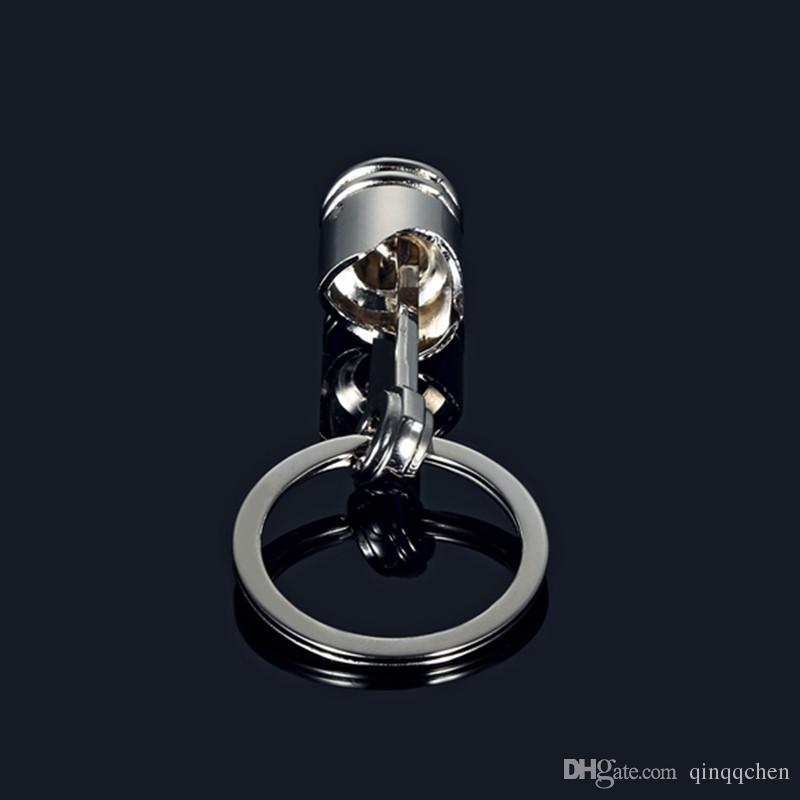 2017 Fashion Engine Piston Keychain Polished Chrome Creative Hot Auto Parts Model Key Chain Ring Key Fob Keyring