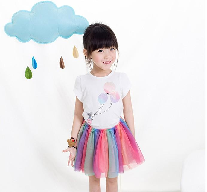 2016 Summer Lovely Clothing 2pcs Set Girls Ballon T-shirt Tops + Colorful Skirt Outfits Kids Clothes Grid Outwear Skirt Suit K7097
