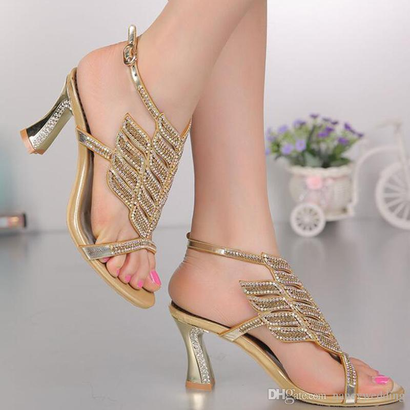 Purple Rhinestone High-heeled Sandals Women Diamond Shoes Female Open Toe Summer Shoes Bridal Wedding Party Sandals Plus Size