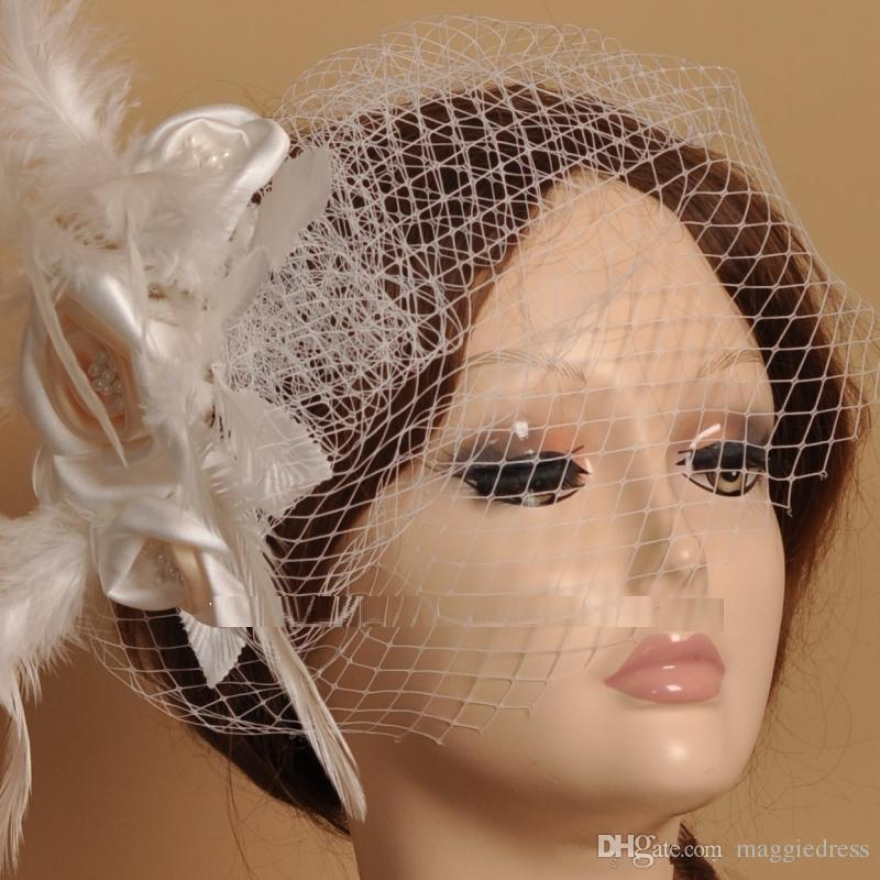Venta caliente Envío Gratis Novia Velo Peine Blusher Birdcage Tulle Marfil Champagne Flores Pluma Nupcial Wedding Hots Sombrero Vestido