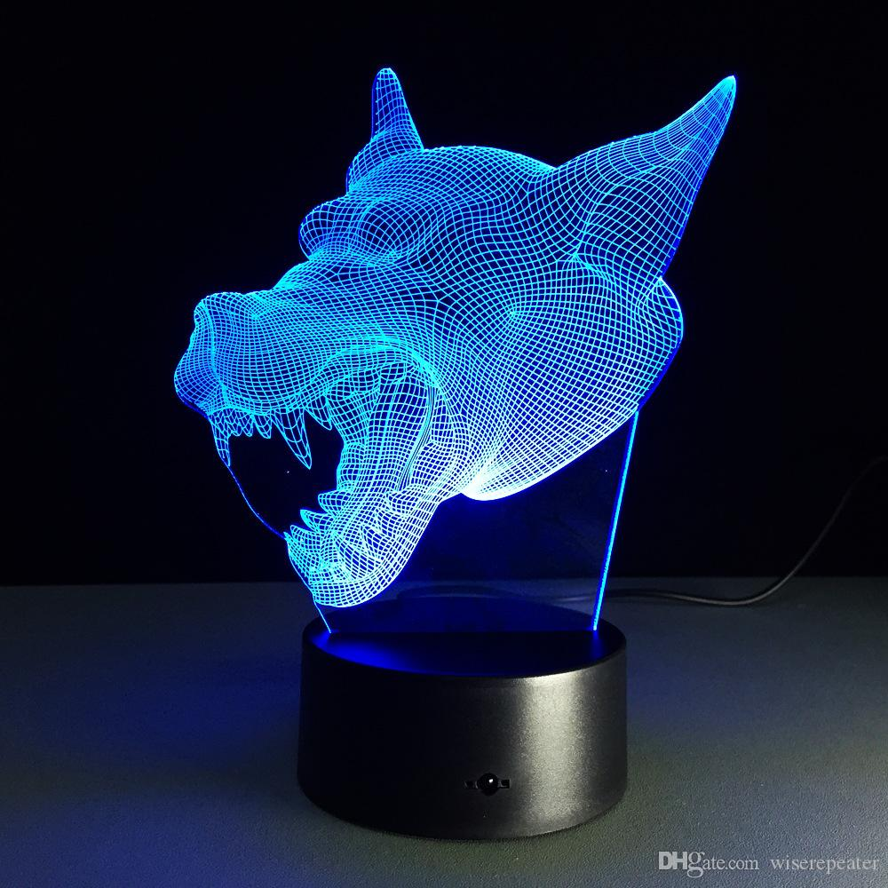 2016 Wolf Head 3D Optical Illusion Lamp Night Light DC 5V USB Charging 5th Battery Wholesale Dropshipping