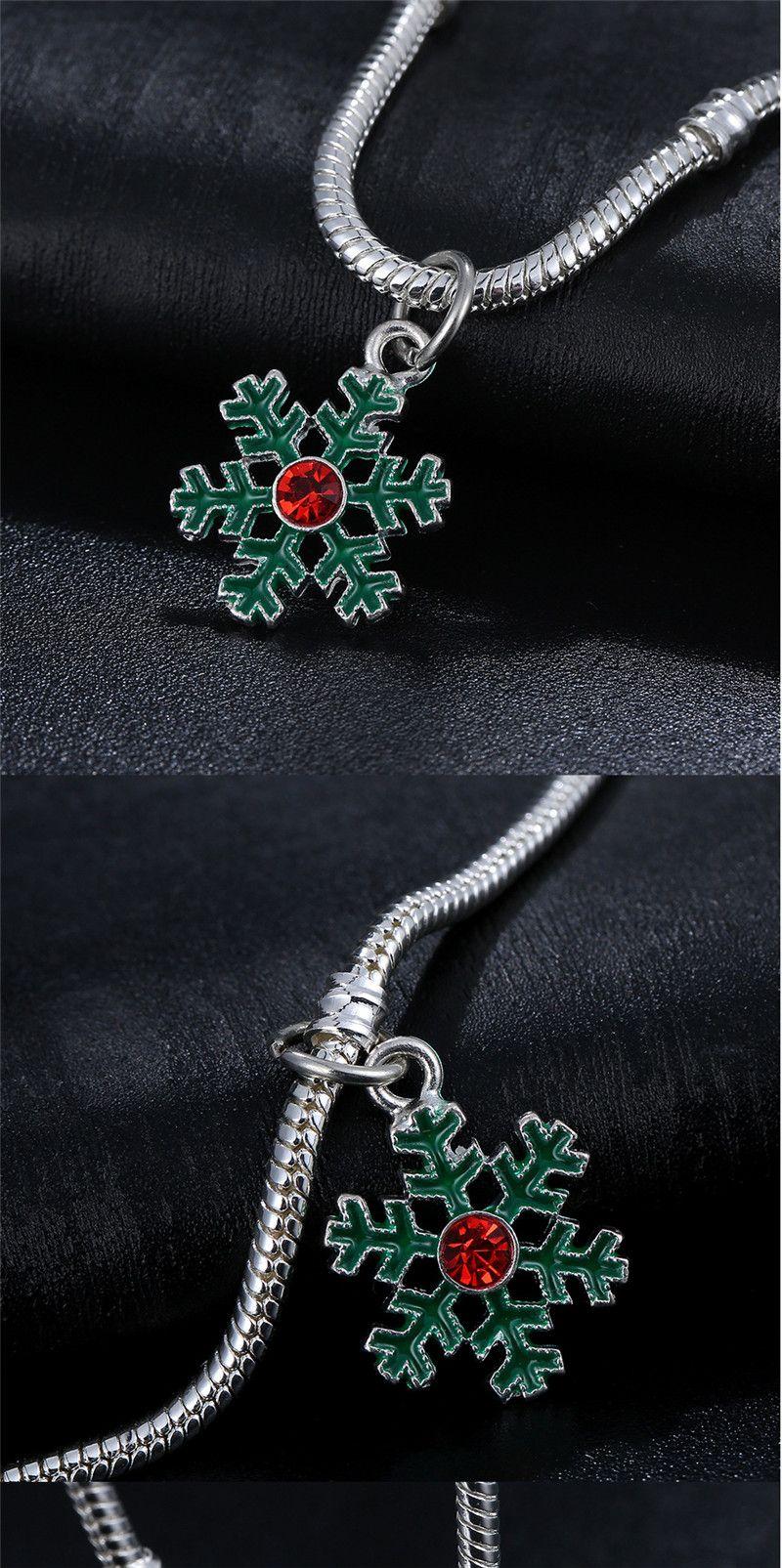 Christmas festival beads hanging Green snowflake pendant European Charms fit Pandora Snake Chain Bracelets Wholesale Charm Jewelry