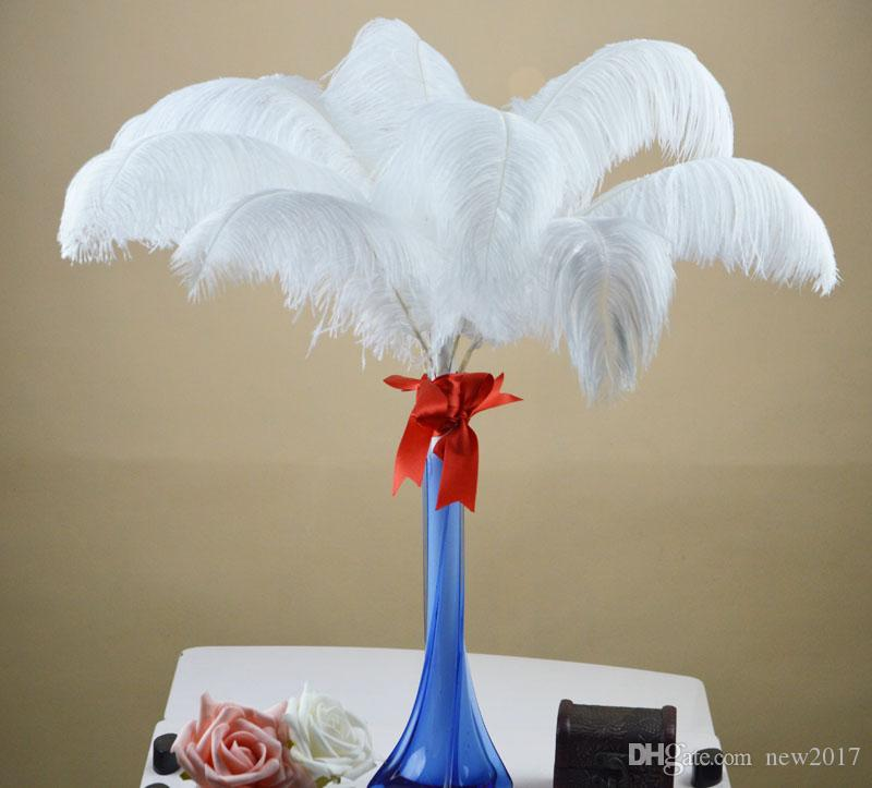 Commercio all'ingrosso 50 pz lotto 6-26 pollice Ostrich Feather Plume bianco, centrotavola di nozze centrotavola tavolo decorazione festa evento decor