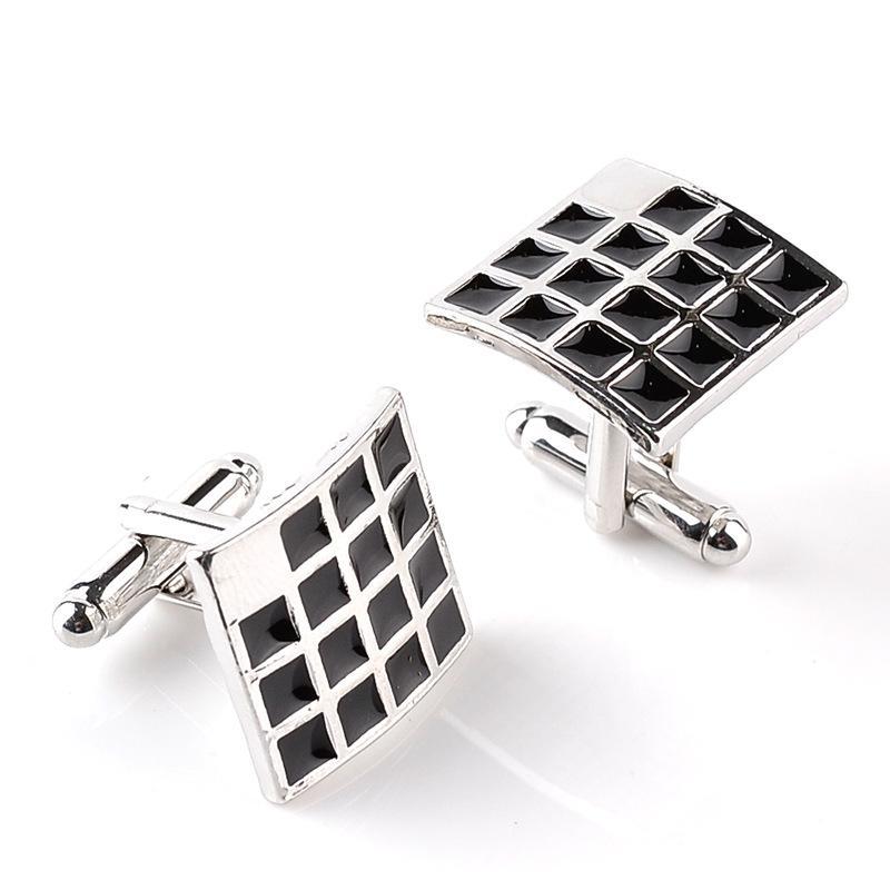 Black Square grid Cufflinks Cuff Links sleeve button for women men shirts dress suits Cufflink wedding jewelry Christmas 170615