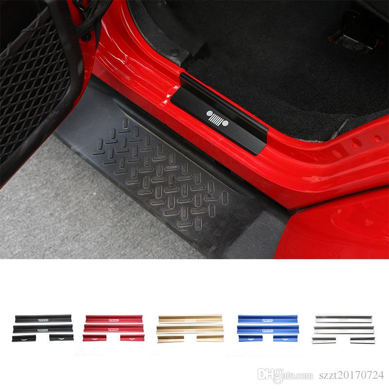 Door Sill Entry Guards Strips 4 Doors For Jeep Wrangler 2007 2016