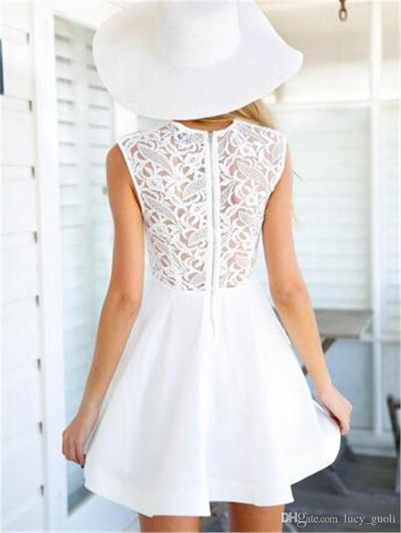 2016 Summer Women Skater Dress Floral Lace Crochet Sheer Sleeveless Back Zipper Ruffled Double Layered Mini Dress Vestidos White Plus size