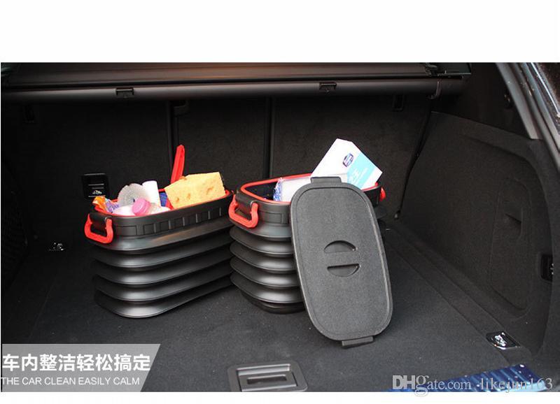 자동차 인테리어 트렁크 야외 캠핑을위한 커버 베스트 스토리지 컴 파트먼트 박스와 18L 접이식 자동차 주최자