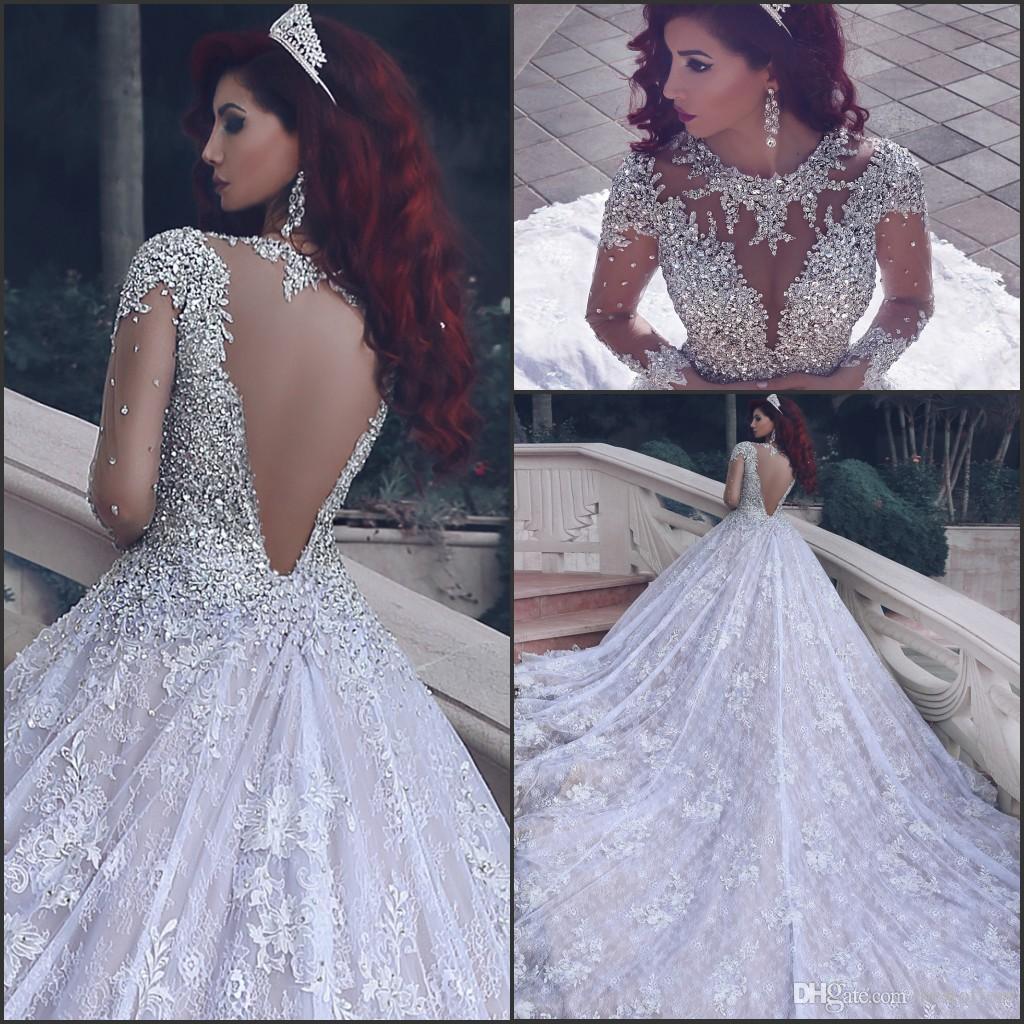 Luxury Vintage Ball Gowns Bröllopsklänningar 2018 Ny Sheer Jewel Neck With Rhinestones Cathedral Train Vestido de Novia Bridal Gowns Custom