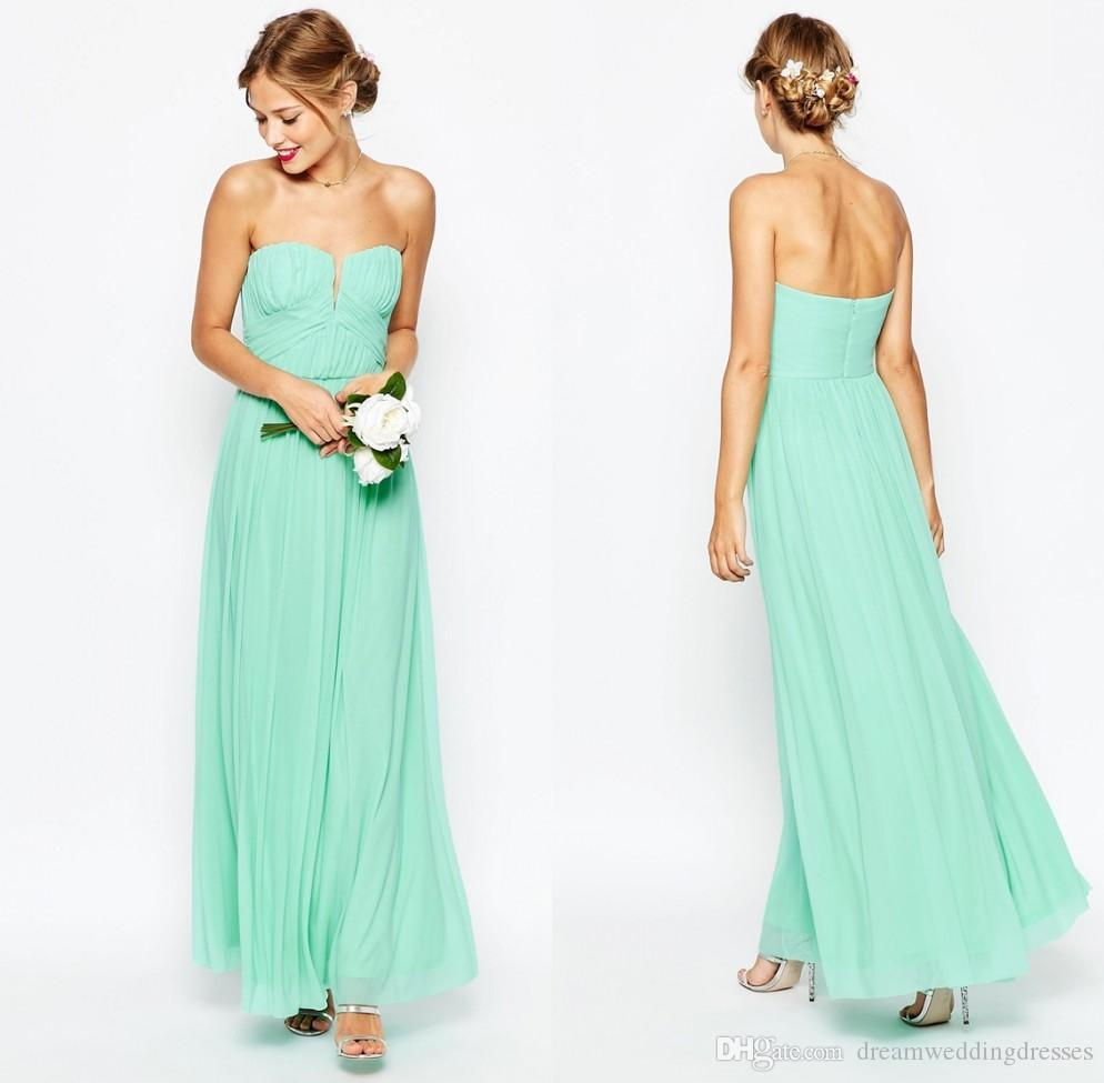 Mint green formal dresses ruffles stylish cheap chiffon a line mint green formal dresses ruffles stylish cheap chiffon a line wedding guest dresses 2016 ankle length sleeveless bridesmaid dresses df yellow bridesmaid ombrellifo Images