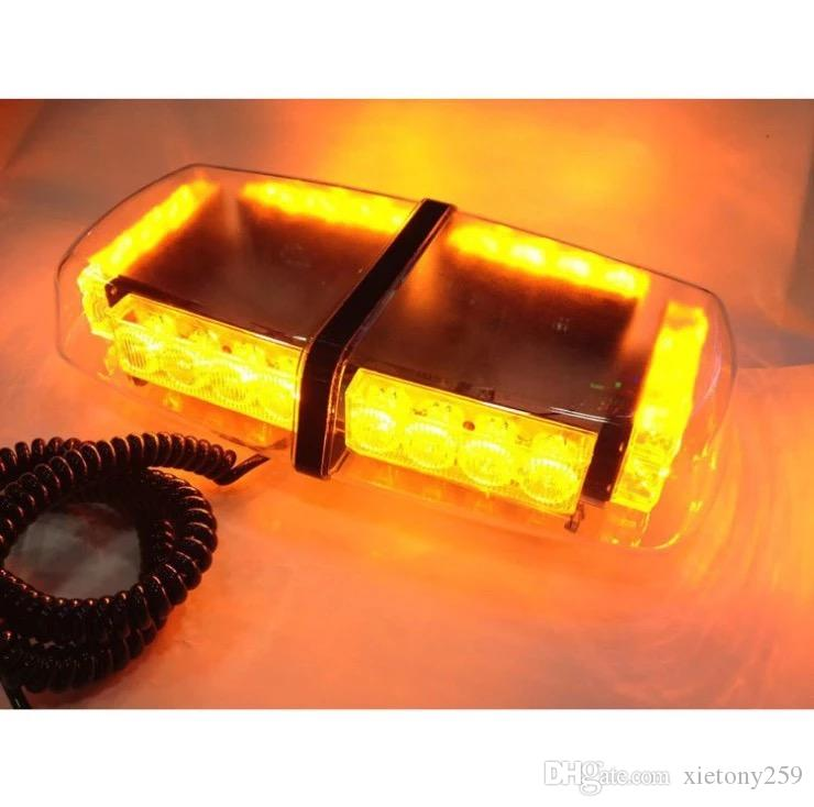 24W Roof Top Emergency amber LED Strobe Flash Warning Mini Lightbar , TIR lens , with magnets, with cig plug
