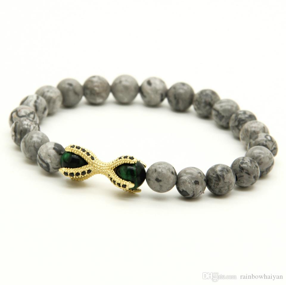 Grey Picture Jasper Stone with Tiger Eye Beads Micro Inlay Black CZ Beads Eagle ClawHot Sell European Style Bracelets