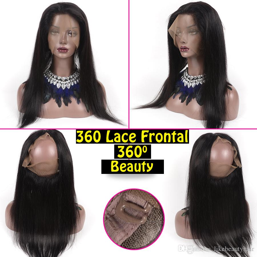 Malaysian Human Hair Straight 360 Lace Frontal With Bundles Pre Plucked 360 Lace Frontal Closure With Human Hair Weaves Closure