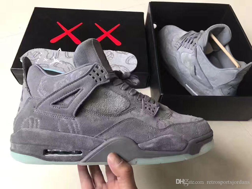 new products b57de 710cd Glow In the Dark para hombre Air 4 Retro Kaws Gitd Blanco Cool Grey Suede  Basketball shoes 4s sneaker Venga en tamaño de caja 9, 10.5
